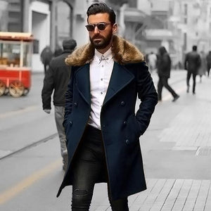 PMS Coat navy_blue / m Chic Plain Lapel Collar Button Thicken Woolen Long Coat