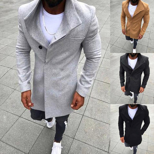 PMS Coat New Fashion Men's Woolen Solid Color Long-Sleeved Jacket