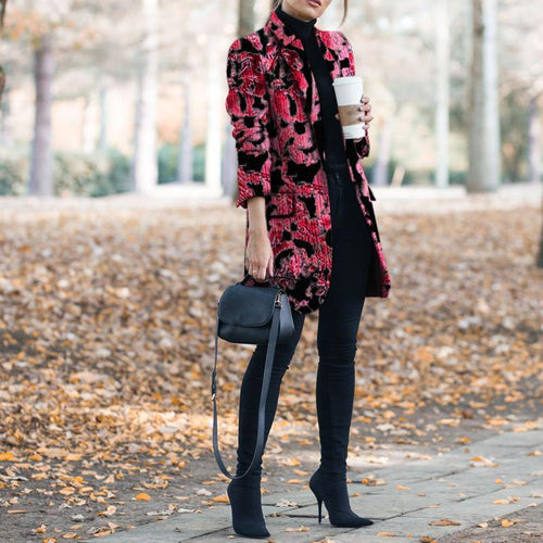 PMS Coat Red / s Autumn And Winter   Fashion Prints To Trim Warm Coat