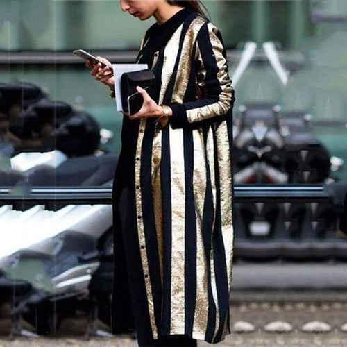 PMS coat Same As Photo / s Fall And Winter   Fashion Striped Long Coat