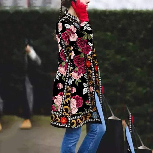 PMS Coat Same As Photo / s Fashion Floral Printed Long Sleeve Coat