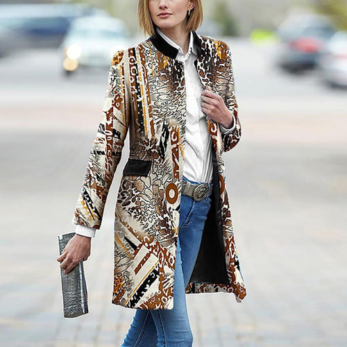 PMS Coat Same As Photo / s Retro Fashion Slim Print Long Sleeve Coat Cardigan
