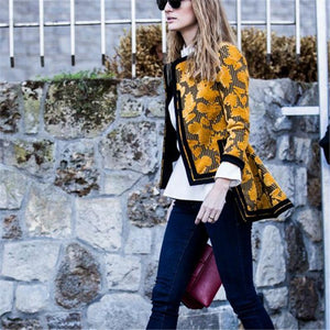 PMS Coat Yellow / s Autumn and winter   fashion printing irregular jacket