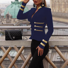 PMS coats blue / s Stylish Stand-Up Collar Zipper Double-Breasted Suit