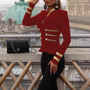 PMS coats red / s Stylish Stand-Up Collar Zipper Double-Breasted Suit