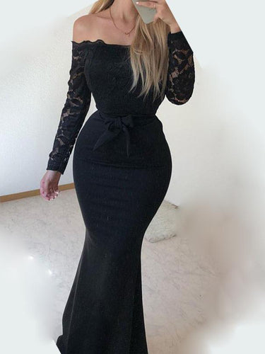 PMS Coats Sexy Off Shoulder Plain Lace Split Joint Maxi Dress