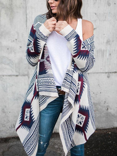 PMS Collarless  Tribal Printed  Long Sleeve Cardigans