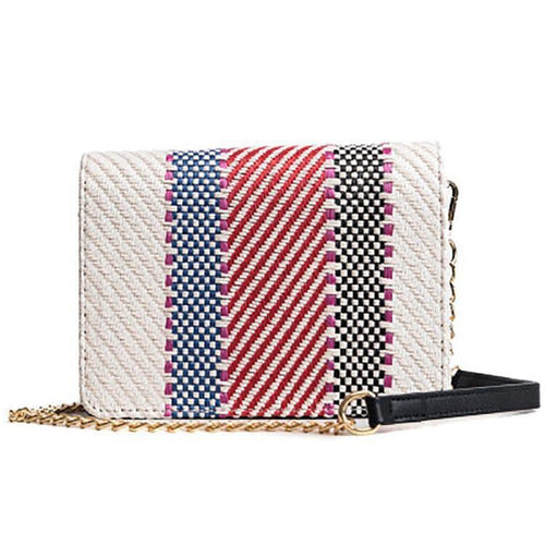 PMS Color Weaving Chain Crossbody Bag