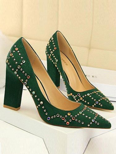 PMS Colored Diamond Sequins High Heels Shoes