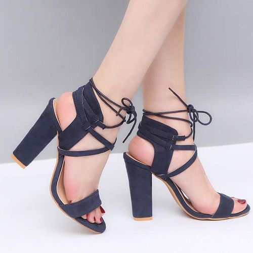 PMS dark_blue / EU35 Elegant Strap Sandals Peep Toe Shoes
