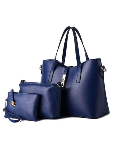 PMS dark_blue / one size Three Pieces Pu Classic Shoulder Bag