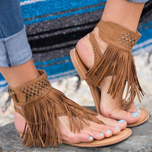 PMS dark_brown / us5 Bohemian  Flat  Velvet  Ankle Strap  Peep Toe  Casual Gladiator  Socofy    Sandals