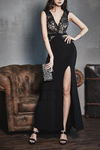 PMS Deep V Lace Splice Split Evening Dress