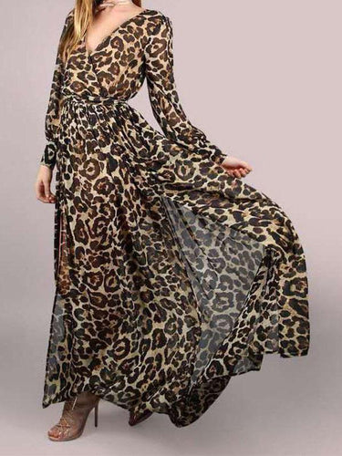 PMS Deep V Neck Leopard Print Long Sleeve Maxi Dress