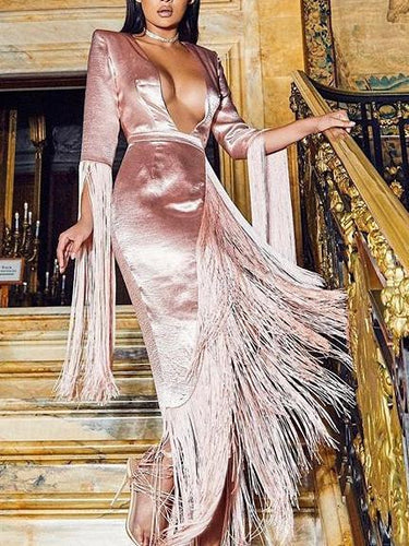 PMS Dress-women Pink / s Sexy Deep V-Neck Long Sleeve Tassel Evening Dress