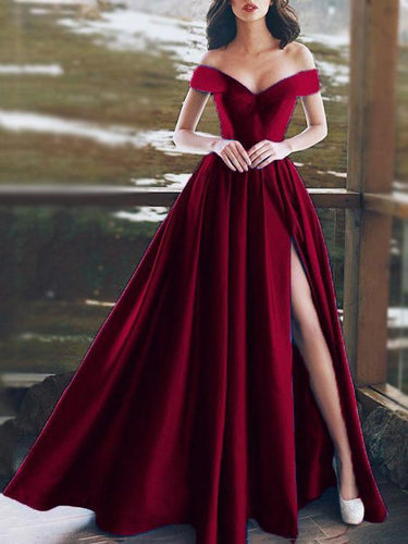 PMS Dress-women Red / s Sexy Off-Shoulder V-Neck Evening Dress