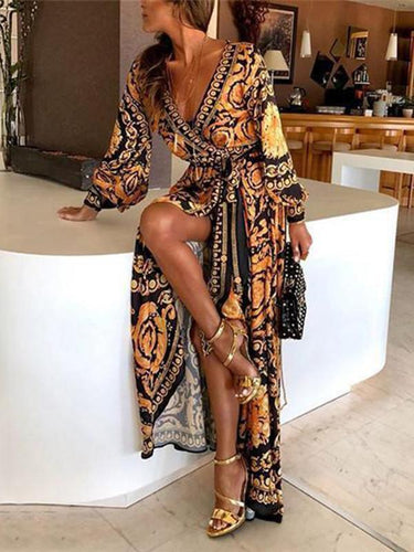 PMS Early Autumn Long Sleeve V-Neck Print Maxi Dress