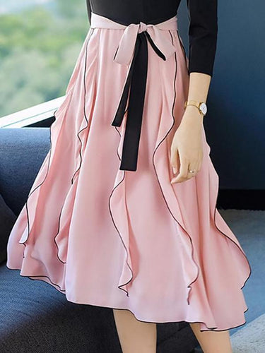 PMS Elegant Fashion Business Ruffled Side Lace-Up Waistband Long Skirt