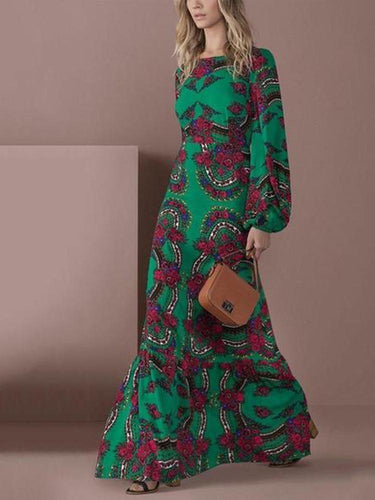 PMS Elegant Green Long-Sleeved Floral Printed Maxi Dress