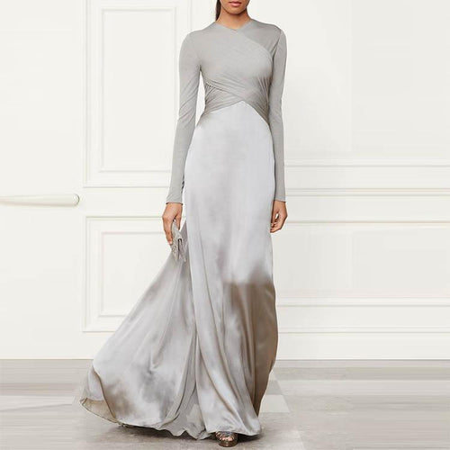 PMS Evening Dress Gray / s Pure Color Stitching Long Sleeve Evening Dress
