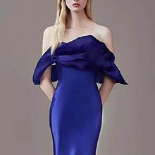 PMS Evening Dress Off Shoulder Pure Color Evening Dress