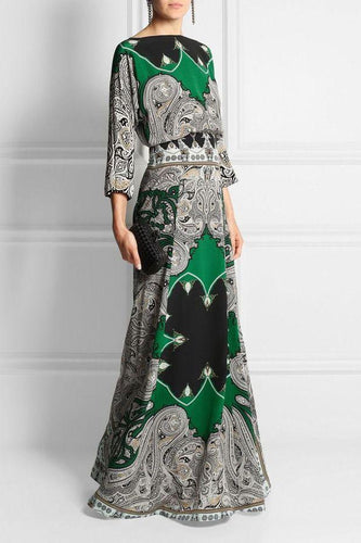 PMS Evening Dress same_as_photo / s Round-Necked Long-Sleeved Vintage Printed Maxi Dress