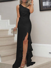 PMS Evening Dresses Black / s One Shoulder  Cutout Flounce Inverted Pleat  Plain Evening Dresses