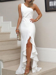 PMS Evening Dresses One Shoulder  Cutout Flounce Inverted Pleat  Plain Evening Dresses