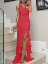 PMS Evening Dresses Red / s One Shoulder  Cutout Flounce Inverted Pleat  Plain Evening Dresses