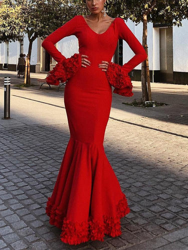 PMS Evening Dresses Sexy Plain Deep V Collar Ruffled Long Sleeve Hem Evening Dress