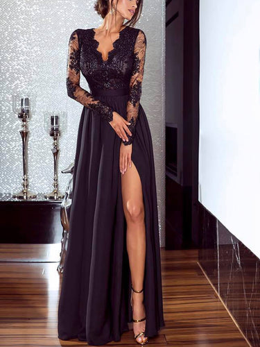 PMS Evening Dresses Sexy V Collar Lace Split Joint Slit Maxi Dress