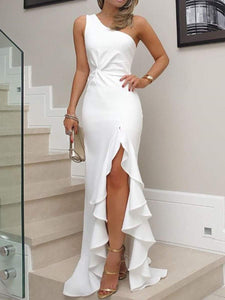 PMS Evening Dresses White / s One Shoulder  Cutout Flounce Inverted Pleat  Plain Evening Dresses