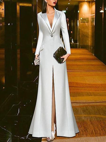 PMS Evening Dresses White Suit Evening Dress