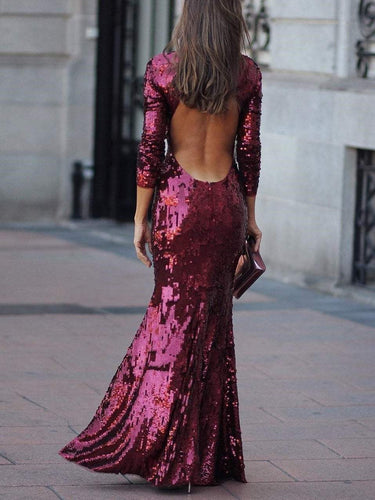 PMS evening Fashion Sexy Sequin Evening Dress