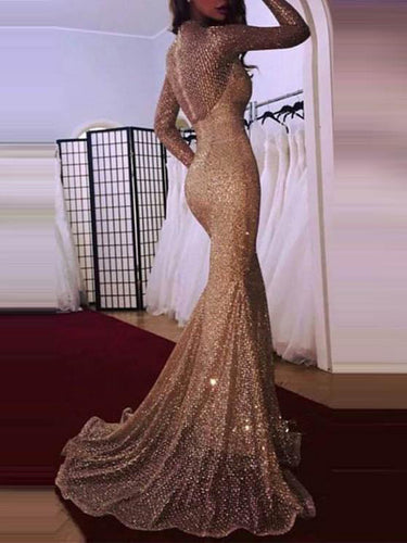 PMS evening Glamorous Sequins Long Sleeve Evening Dress