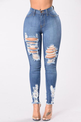 PMS Fashion Casual Slim Solid Color Denim Pants