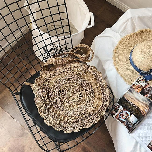 PMS coffee / one size Fashion Casual Vacation Knitting Round Shape Hand Bag