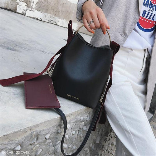 PMS Fashion Elegant Casual Plain Bucket One Shoulder Hand Bag