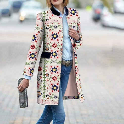 PMS Fashion Floral Pattern Printed Long Sleeve Bodycon Coat