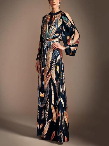 PMS Fashion Floral Printed Split Sleeve With Belt Maxi Dress