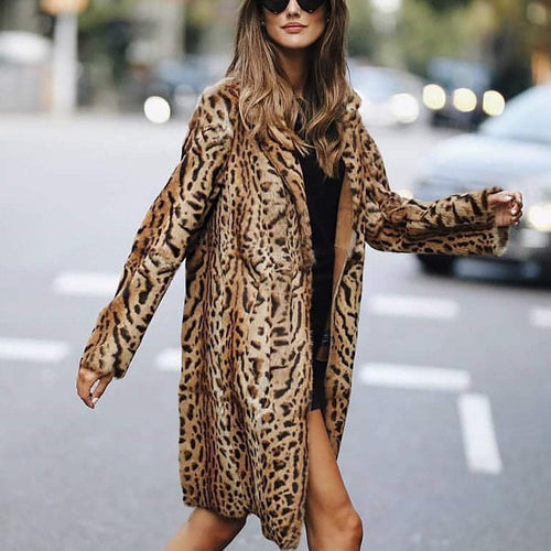 PMS Fashion Leopard Print Long Sleeve Cardigans Coat