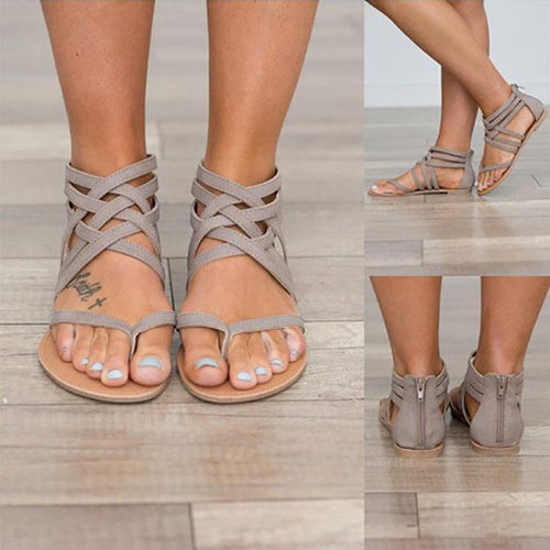 PMS Fashion Pure Color Roman Cross Straps Sandals