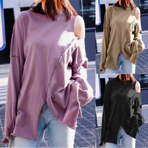 PMS Fashion Pure Colour Off-Shoulder Irregular Shirt