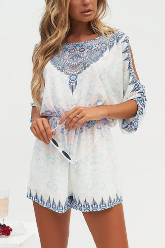 PMS Fashion Short Sleeves Floral Print Rompers