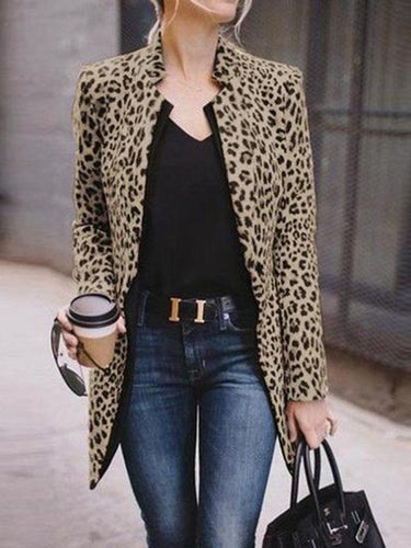 PMS Fashion Straight Collar Long Sleeve Leopard Print Suit Outerwear