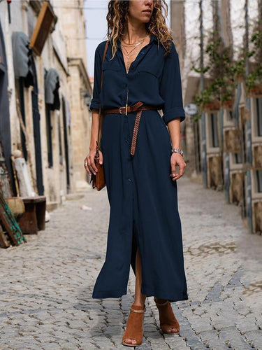 PMS Fashionable Loose Long Sleeved Maxi Dress