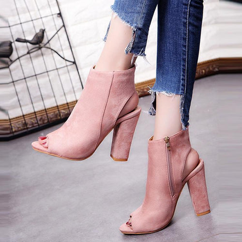 PMS Fish Mouth Solid Color High Heel Shoes