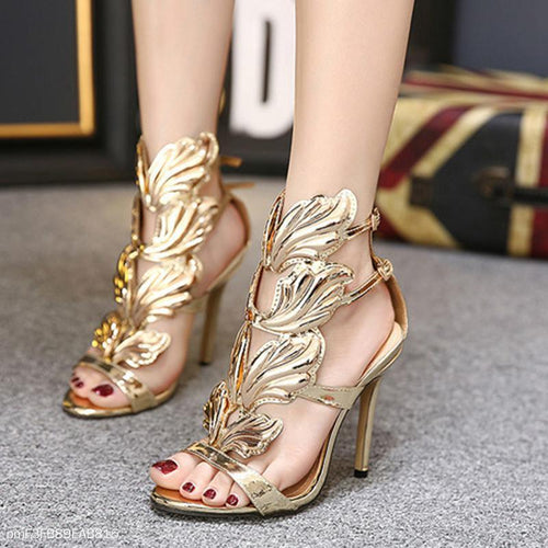 PMS gold / 35 Luxury Metal Wings Stiletto Heels