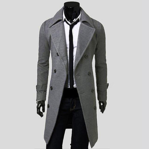 PMS Gray / m Men Top Quality Cotton Overcoat