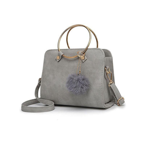PMS gray / one size Gold Round Handle Fur Ball Crossbody Bag